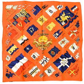 【未使用】 エルメス HERMES スカーフ カレ45 プチカレ シルク PAVOIS 船旗 国旗 バンダナ バッグチャーム 小物 ミニスカーフ レディース 赤 レッド ネイビー マルチカラー r2021070