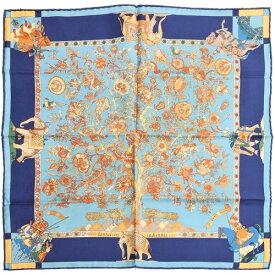 【極美品】 エルメス HERMES スカーフ カレ45 シルク fantaisies indiennes インドの幻想 レディース ブルー 【中古】 p-eg19101322