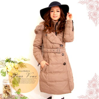 Rabbit Womens coats down jacket medium-length outer plain simple grey beige hooded warm or large fall/winter new ladies women's large size outerwear magazine s beige gray 1157 fall new larger size down jacket
