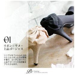 ラメバックリボンパーティーシューズパンプスミュールレディースファッションフォーマル低反発ソールハイヒール靴レディス限定s011新作【RCP】20代30代40代50代ファッション