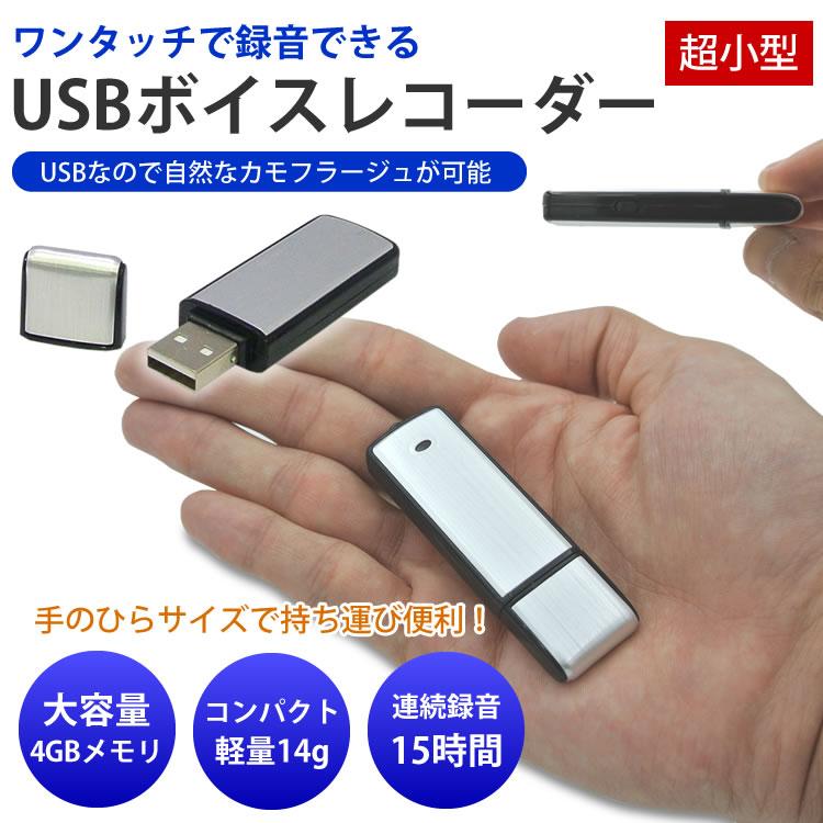 USBボイスレコーダー 4GB 小型 ワンタッチ録音のUSB 4GB型ボイスレコーダー【メール便発送 送料無料】