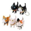猫キーホルダーキーリングねこキャットかわいい鍵かぎプレゼント5カラーストラップお祝い【メール便送料無料】