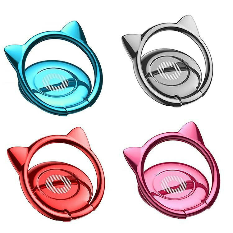 スマホ リング ねこ 耳 落下防止 ホールドリング スタンド 磁石 車載ホルダー 併用可能 軽量 薄型 安定 指輪型 スマホリング PR-SMRING04 【メール便 送料無料】