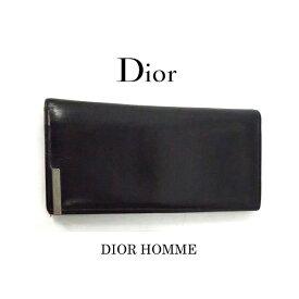 【中古】DIOR HOMME(ディオールオム)のメンズ長財布 ・カーフレザー・ブラック・ショップカード箱付き