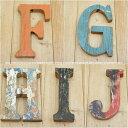 [ポイント10倍]木製 アルファベット 切り文字 オブジェ 『FGHIJ』 高さ18cm ボート再生家具 イニシャル インテリア 無垢材 古材 リサイクルウッド リユース木材 店舗看板 看板作製 DI