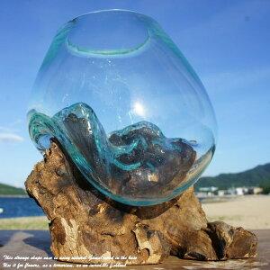 ポイント10倍 選べる 流木ガラスオブジェ XS 花瓶 アクアリウム テラリウム フラワーポット 金魚鉢 メダカ水槽 バリ島 アジアン雑貨 ポプリ入れ 容器 器 リサイクルガラス オブジェ かわいい