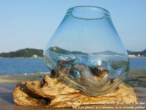 ポイント10倍 選べる 流木ガラスオブジェ KM12 花瓶 アクアリウム テラリウム フラワーポット 金魚鉢 メダカ水槽 バリ島 アジアン雑貨 ポプリ入れ 容器 器 リサイクルガラス オブジェ かわい