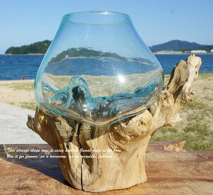 ポイント10倍 選べる 流木ガラスオブジェ S20 花瓶 アクアリウム テラリウム フラワーポット 金魚鉢 メダカ水槽 バリ島 アジアン雑貨 ポプリ入れ 容器 器 リサイクルガラス オブジェ かわいい
