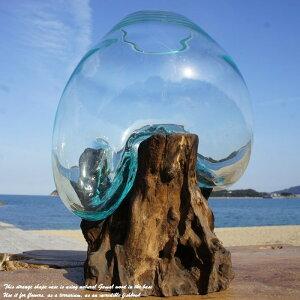 ポイント10倍 選べる 流木ガラス オブジェ 大きい M24 花瓶 アクアリウム テラリウム フラワーポット 金魚鉢 メダカ水槽 バリ島 アジアン雑貨 ポプリ入れ 容器 器 リサイクルガラス オブジェ