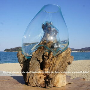 ポイント10倍 選べる 流木ガラス オブジェ 特大 LS28 花瓶 アクアリウム テラリウム フラワーポット 金魚鉢 メダカ水槽 バリ島 アジアン雑貨 ポプリ入れ 容器 器 リサイクルガラス オブジェ か