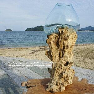 ポイント10倍 一点物 流木ガラス オブジェ 特大 LH78 花瓶 アクアリウム テラリウム フラワーポット 金魚鉢 メダカ水槽 バリ島 アジアン雑貨 ポプリ入れ 容器 器 リサイクルガラス オブジェ か
