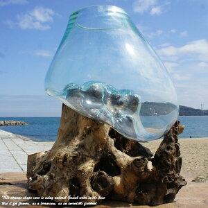 ポイント10倍 選べる 流木ガラス オブジェ 特大 大きい L28 花瓶 アクアリウム テラリウム フラワーポット 金魚鉢 メダカ水槽 バリ島 アジアン雑貨 ポプリ入れ 容器 器 リサイクルガラス オブ