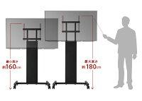テレビ台WALL自立型テレビスタンドPROアクティブ32~79v対応ハイタイプキャスター付き移動式自立型テレビ台TVスタンドオフィス会議室用店舗用背面収納コード収納ホワイト白ブラック黒ウォールナットブラウン震度7耐震試験済み
