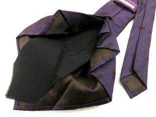 【新品】ココンCOCONリミテッドエディションラインセッテピエゲ(7回折り)ペイズリーネクタイダークパープル×ブラウン【