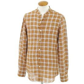 【新品】フィナモレ Finamore リネン チェック バンドカラーシャツ ブラウン×ネイビー系【サイズ38】【BRW】【S/S】【状態ランクN】【メンズ】【10602-956329】【1万円以上送料無料】【1910APD】