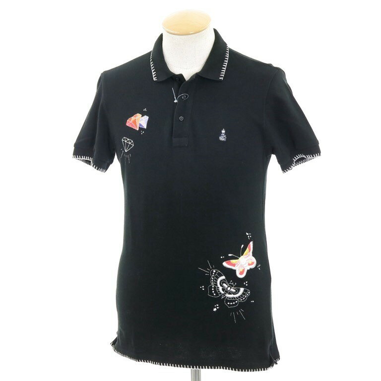 【中古】ギローバー GUY ROVER 刺繍 鹿の子 半袖ポロシャツ ブラック【サイズXS】【BLK】【S/S】【状態ランクB】【メンズ】【10703-957007】【1万円以上送料無料】