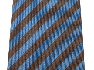 【新品】ココンCOCONストライプ柄ネクタイブラウン×Dブルー【BLU】【S/S/A/W】【状態ランクN】【メンズ】【1