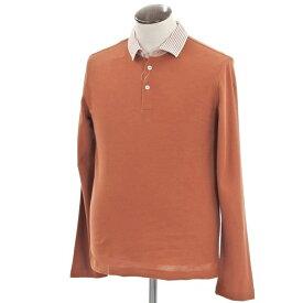 【新品】ベルベスト Belvest 鹿の子 長袖ポロシャツ オレンジブラウン×ホワイト【サイズ50】【BRW】【S/S/A/W】【状態ランクN】【メンズ】【10703-956728】【1万円以上送料無料】【190108PD】
