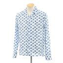 【新品】イレブンティ eleventy フラワー柄 ワイドカラーシャツ ホワイト×ブルー【サイズ38】【WHT】【S/S/A/W】【状…