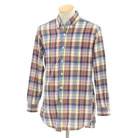 【中古】ブルックス ブラザーズ BROOKS BROTHERS チェック BDシャツ ブルー×ベージュ×レッド系【サイズS】【MLT】【S/S/A/W】【状態ランクB】【メンズ】【10602-956197】【1912APD】