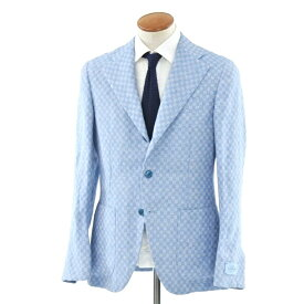 【新品】ベルベスト Belvest チェック リネン 3Bジャケット ライトブルー×ホワイト【サイズ48 8R】【BLU】【S/S】【状態ランクN】【メンズ】【10102-956391】[2105DPD]