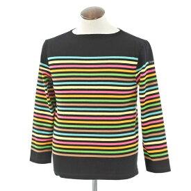 【中古】ルミノア le minor ボーダー バスクシャツ 長袖Tシャツ ブラック×マルチカラー【サイズ4】【BLK】【S/S/A/W】【状態ランクB】【メンズ】【10701-956335】【1万円以上送料無料】【1910APD】