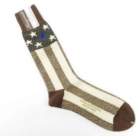 【新品】ネイビールーツ NAVY ROOTS ウール×コットン スター&ストライプ ソックス 靴下 ブラウン×ベージュ【サイズ25-27cm(ワンサイズ)】【BRW】【A/W】【状態ランクN】【メンズ】【19906-956048】[2102CPD]
