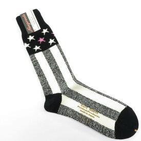 【新品】ネイビールーツ NAVY ROOTS ウール×コットン スター&ストライプ ソックス 靴下 ブラック×アイボリー【サイズ25-27cm(ワンサイズ)】【BLK】【A/W】【状態ランクN】【メンズ】【19906-956048】[2102CPD]
