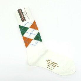 【新品】ネイビールーツ NAVY ROOTS アーガイル柄 コットンブークレー ソックス 靴下 ホワイト【サイズ25-27cm(ワンサイズ)】【WHT】【S/S/A/W】【状態ランクN】【メンズ】【19906-956046】[2102CPD]
