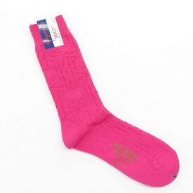 【新品】ネイビールーツ NAVY ROOTS ケーブル&スカル柄 コットン ソックス 靴下 ピンク【サイズ25-27cm(ワンサイズ)】【PNK】【S/S/A/W】【状態ランクN】【メンズ】【19906-956046】[2102CPD]