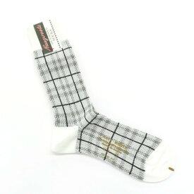 【新品】ネイビールーツ NAVY ROOTS チェック柄 コットン×アクリル×ウール ソックス 靴下 ホワイト×グレー【サイズ25-27cm(ワンサイズ)】【GRY】【S/S/A/W】【状態ランクN】【メンズ】【19906-956045】[2102CPD]