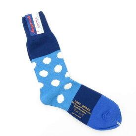 【新品】ネイビールーツ NAVY ROOTS コットン ポルカドット ソックス 靴下 ブルー×ネイビー【サイズ25-27cm(ワンサイズ)】【BLU】【S/S/A/W】【状態ランクN】【メンズ】【19906-956045】[2102CPD]