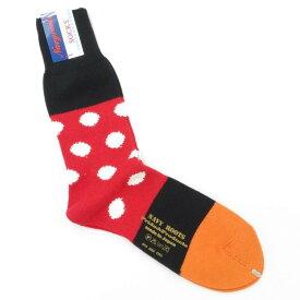 【新品】ネイビールーツ NAVY ROOTS コットン ポルカドット ソックス 靴下 レッド×ブラック【サイズ25-27cm(ワンサイズ)】【RED】【S/S/A/W】【状態ランクN】【メンズ】【19906-956045】[2102CPD]