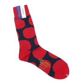 【新品】ネイビールーツ NAVY ROOTS ドット柄 ハイゲージ コットン ソックス 靴下 レッド×ネイビー【サイズ25-27cm(ワンサイズ)】【RED】【S/S/A/W】【状態ランクN】【メンズ】【19906-956042】[2102CPD]