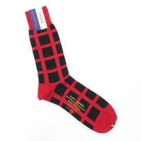【新品】ネイビールーツ NAVY ROOTS チェック柄 ハイゲージ コットン ソックス 靴下 レッド×ブラック【サイズ25-27cm(ワンサイズ)】【RED】【S/S/A/W】【状態ランクN】【メンズ】【19906-956042】[2102CPD]
