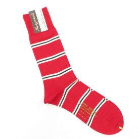 【新品】ネイビールーツ NAVY ROOTS ボーダー柄 ハイゲージ コットン ソックス 靴下 レッド【サイズ25-27cm(ワンサイズ)】【RED】【S/S/A/W】【状態ランクN】【メンズ】【19906-956042】[2102CPD]
