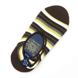 【新品】ネイビールーツ NAVY ROOTS ボーダー柄 コットン×ポリエステル シューズインソックス 靴下 ブラウン×ホワイト×イエロー【サイズ25-27cm(ワンサイズ)】【BRW】【S/S/A/W】【状態ランクN】【メンズ】【19906-956039】[2102CPD]