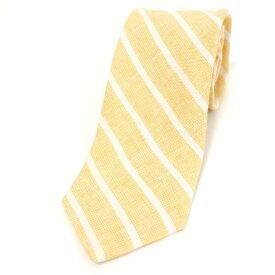 【中古】フェアファクス FAIRFAX ストライプ柄 三つ折り リネン ネクタイ ソフトオレンジ×ホワイト【ORG】【S/S】【状態ランクB】【メンズ】【11001-956014】[2104APD]