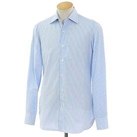 【最終価格】【中古】フィナモレ Finamore コットン ワイドカラー ドレスシャツ ライトブルー×ホワイト【サイズ37】【BLU】【S/S/A/W】【状態ランクD】【メンズ】【10601-955970】[2103EPD]