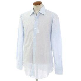 【新品】ベルベスト Belvest ストライプ柄 コットンリネン レギュラーカラーシャツ ホワイト×ライトブルー【サイズ39】【BLU】【S/S】【状態ランクN】【メンズ】【10601-955927】[2105BPD]