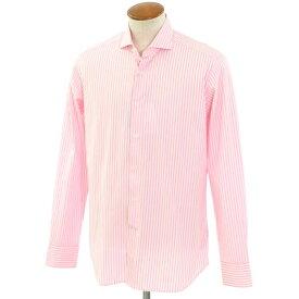 【新品】バグッタ Bagutta ストライプ柄 コットン ワイドカラー ドレスシャツ ピンク×ホワイト【サイズ40】【PNK】【S/S/A/W】【状態ランクN】【メンズ】【10601-955816】[2102APD]