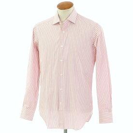 【新品】バグッタ Bagutta ストライプ柄 コットン ワイドカラー ドレスシャツ ホワイト×レッド【サイズ39】【RED】【S/S/A/W】【状態ランクN】【メンズ】【10601-955815】[2102APD]