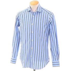 【新品】バグッタ Bagutta ストライプ柄 コットン ワイドカラー ドレスシャツ ブルー×ネイビー×ホワイト【サイズ37】【BLU】【S/S/A/W】【状態ランクN‐】【メンズ】【10601-955811】[2102APD]