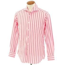 【新品】バグッタ Bagutta ストライプ柄 コットン ホリゾンタルカラー ドレスシャツ ピンク×レッド×ホワイト【サイズ39】【PNK】【S/S/A/W】【状態ランクN】【メンズ】【10601-955812】[2110BPD]