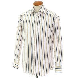【新品】バグッタ Bagutta ストライプ柄 コットン ワイドカラー ドレスシャツ ホワイト×ベージュ×ネイビー【サイズ39】【WHT】【S/S/A/W】【状態ランクN】【メンズ】【10601-955809】[2102APD]