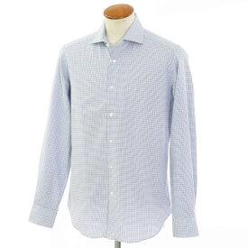 【新品】バグッタ Bagutta コットン ワイドカラーシャツ ホワイト×ブルー×ネイビー【サイズ40】【BLU】【S/S/A/W】【状態ランクN】【メンズ】【10602-955808】[2102APD]