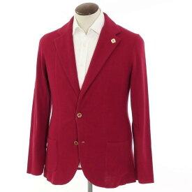 【新品】ラルディーニ LARDINI 2つボタン ハイゲージ コットン ニットジャケット ダークレッド【サイズL】【RED】【S/S】【状態ランクN】【メンズ】【10199-955797】[2109APD]