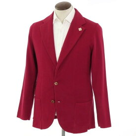 【新品】ラルディーニ LARDINI 2つボタン ハイゲージ コットン ニットジャケット ダークレッド【サイズXL】【RED】【S/S】【状態ランクN】【メンズ】【10199-955798】[2102APD]