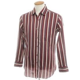 【新品アウトレット】バグッタ Bagutta ストライプ柄 コットン ラウンドカラーシャツ ボルドー×ホワイト×ネイビー【サイズM】【RED】【S/S/A/W】【状態ランクN-】【メンズ】【10602-955761】[2110BPD]