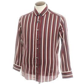 【新品】バグッタ Bagutta ストライプ柄 コットン カラーバー付 ラウンドカラーシャツ ボルドー×ホワイト×ネイビー【サイズL】【RED】【S/S/A/W】【状態ランクN】【メンズ】【10602-955762】[2109APD]